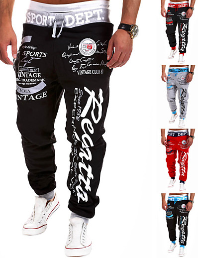 cheap SPORTSWEAR-Men's Sweatpants Joggers Jogger Pants Track Pants Street Bottoms Harem Drawstring Cotton Winter Fitness Gym Workout Running Active Training Jogging Breathable Soft Sport Black / Red Red Black / White