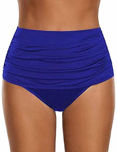 cheap Bikini Bottoms-summer hot! women's high waisted swim bottom ruched bikini tankini swimsuit briefs (s, blue)