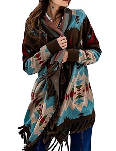 cheap Sweaters & Cardigans-Women's Cardigan Geometric Tassel Print Stylish Ethnic Style Casual Long Sleeve Sweater Cardigans Fall Winter Open Front Blue Yellow Red / Holiday