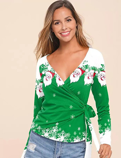 cheap CHRISTMAS-Women's Christmas T-shirt Graphic Prints Long Sleeve Print V Neck Tops Christmas Basic Top Black Red Wine