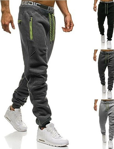cheap SPORTSWEAR-Men's Sweatpants Joggers Jogger Pants Street Bottoms Winter Fitness Gym Workout Running Training Exercise Breathable Soft Sweat-wicking Sport Solid Colored Black Dark Gray Light Gray / Stretchy