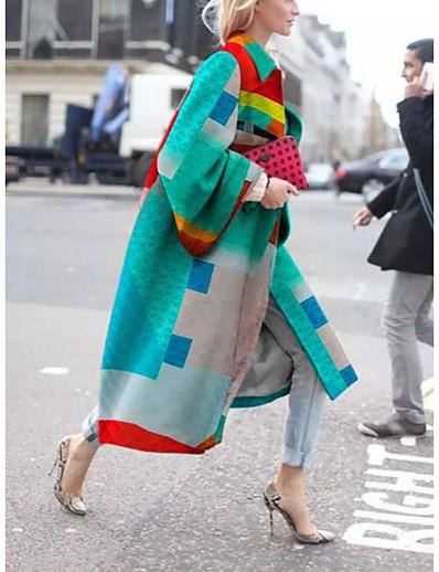 abordables Manteaux & Vestes Grandes Tailles Femme-Femme Automne hiver Manteau Longue Géométrique Quotidien Grandes Tailles Blanche Violet Jaune Vert S M L XL / Ample