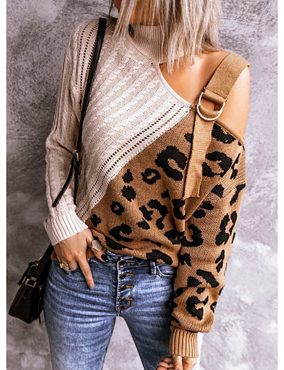 cheap NEW IN-Women's Distressed Knitted Leopard Color Block Pullover Long Sleeve Plus Size Sweater Cardigans Turtleneck Fall Wine Green Navy Blue