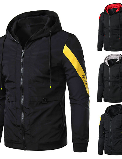cheap Running, Jogging & Walking-Men's Long Sleeve Running Track Jacket Full Zip Outerwear Coat Top Casual Athleisure Winter Thermal Warm Breathable Soft Fitness Running Jogging Training Sportswear Normal Black / Red Black / Yellow