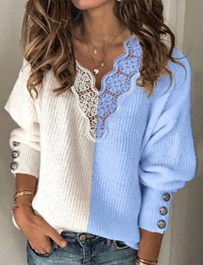 cheap NEW IN-Women's Stylish Knitted Color Block Pullover Long Sleeve Sweater Cardigans V Neck Fall Winter Black Blue Gray