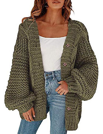 cheap Sweaters & Cardigans-womens button down open front cardigans plus size oversized lantern sleeve chunky cable knit sweaters outwear coats army green