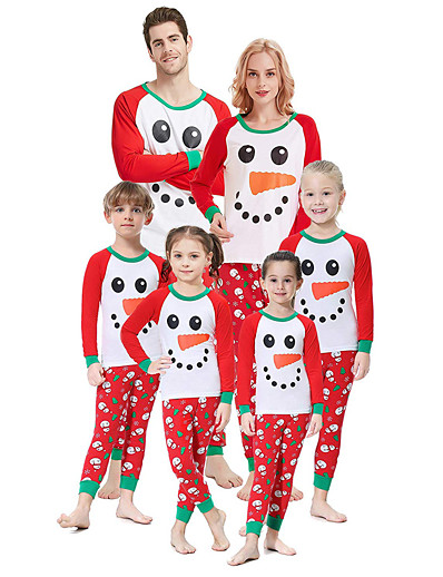 cheap Family Matching Pajamas Sets-Family Look Graphic Print Long Sleeve Regular Regular Clothing Set Red