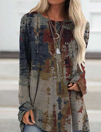 cheap Blouses & Shirts-Women's Blouse Shirt Abstract Long Sleeve Print Round Neck Tops Basic Top Gray