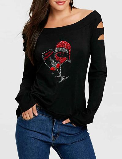 cheap CHRISTMAS-Women's T shirt Graphic Prints Long Sleeve Print Off Shoulder Tops Basic Basic Top Black
