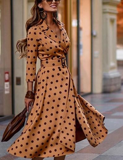 abordables Knee Length Dresses-Femme Robe Fourreau Robe Maxi longue Manches 3/4 Points Polka Automne Grandes Tailles Elégant Simple 2021 Kaki S M L XL XXL 3XL