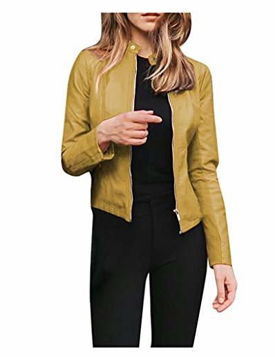 abordables Blazers Femme-vestes en simili cuir pour femmes, zip up moto court solide moto biker outwear ajusté slim manteau jaune