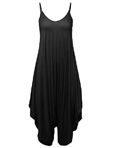 cheap JUMPSUITS & ROMPERS-solid harem pant sleeveless harem pant jumpsuit black l