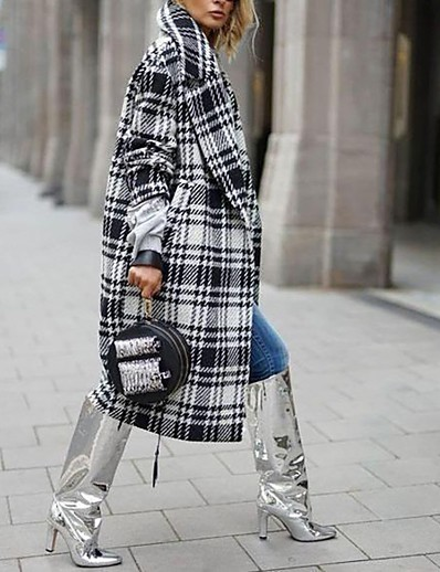 cheap Outerwear-Women's Trench Coat Plaid Fall & Winter Long Going out Long Sleeve Cotton Blend Coat Tops Black