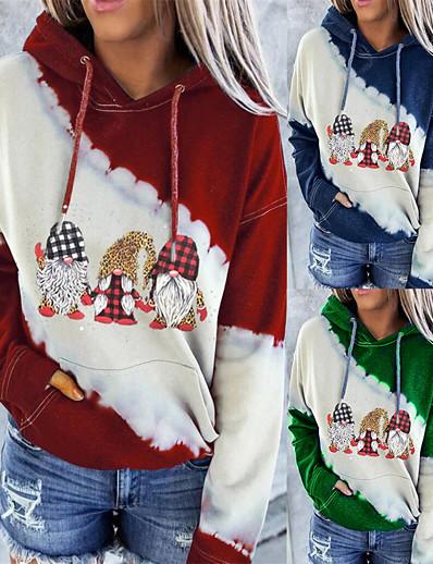 cheap Hoodies & Sweatshirts-Women's Pullover Hoodie Sweatshirt Graphic Front Pocket Christmas Casual Christmas Hoodies Sweatshirts  Blue Red Green