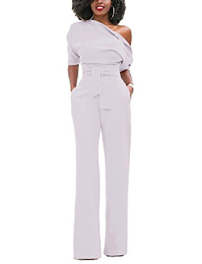 cheap 2021 Trends-Women's Casual Wine ArmyGreen White Jumpsuit Solid Color
