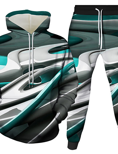 cheap Men's 3D-Men's 3D Hoodies Set Graphic 3D 2 Piece Hooded Daily 3D Print Casual Hoodies Sweatshirts  Long Sleeve Blue