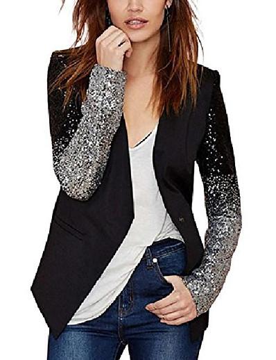 abordables Blazers Femme-blazer veste en patchwork de sequins scintillants pour femme, noir, moyen