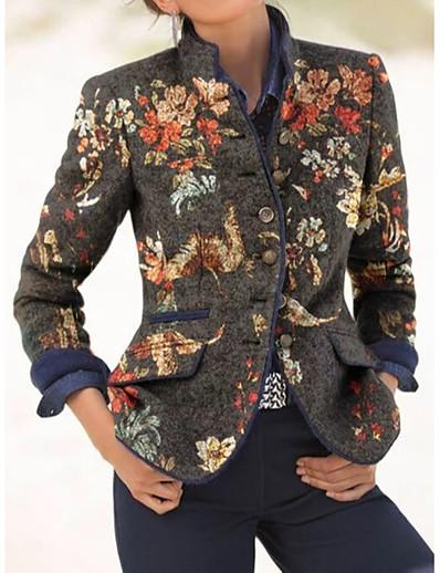 cheap OUTERWEAR-Women's Open Front Trench Coat Regular Print Going out Active Blue M L XL XXL