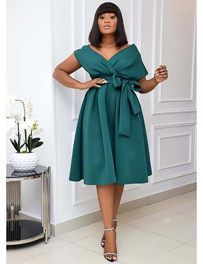 cheap PLUS SIZE-Women's A-Line Dress Knee Length Dress Short Sleeve Solid Color Patchwork Fall Spring Formal Sexy 2021 White Black Green S M L XL XXL 3XL