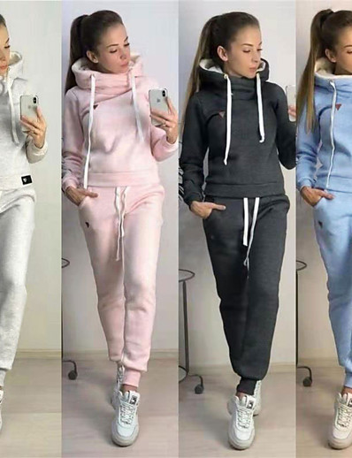cheap SPORTSWEAR-Women's 2-Piece Tracksuit Sweatsuit Jogging Suit Street Athleisure Long Sleeve Winter Pile Neck Fleece Warm Soft Fitness Running Jogging Sportswear Solid Colored Outfit Set Clothing Suit Hoodie Dark