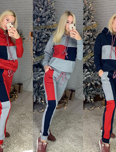 cheap Running, Jogging & Walking-Women's 2 Piece Tracksuit Sweatsuit Street Athleisure 2pcs Winter Long Sleeve Thermal Warm Breathable Soft Fitness Gym Workout Running Jogging Training Sportswear Stripes Normal Hoodie Red Grey Cyan