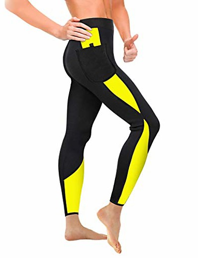 cheap Exercise, Fitness & Yoga-women sauna weight loss slimming neoprene pants with side pocket hot thermo fat burning sweat leggings (black-yellow, 2xl) (renewed)