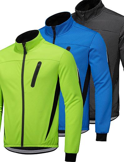 cheap Running, Jogging & Walking-Men's Winter Cycling Jacket Fleece Polyester Bike Fleece Lining Quick Dry Waterproof Zipper Jacket Top Sports Polka Dot Dot Blue / Green / Black Mountain Bike MTB Clothing Apparel Bike Wear