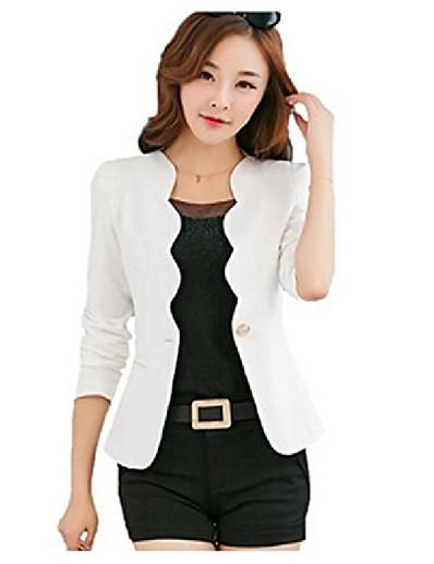 cheap OUTERWEAR-women's wave collar slim suit jakcet one button boyfriend coat office blazer