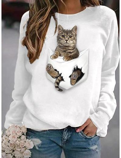 abordables Sweats à capuche et sweat-shirts-Femme Sweat à capuche Chat Graphique 3D Quotidien basique Simple Pulls Capuche Pulls molletonnés Blanche Noir