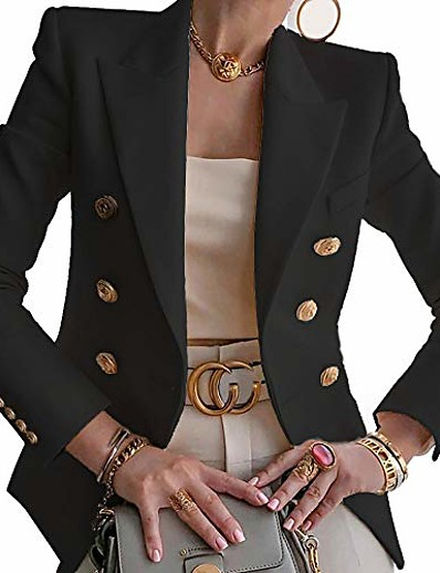 cheap Blazers-women's notched lapel double breasted blazer suit long sleeve buttons casual work office jacket black
