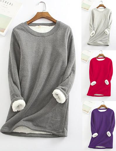 abordables Sweatshirt & Sweats à capuche Femme-Femme Couleur unie Hauts Haut de base Coton basique Rouge vin Noir Bleu