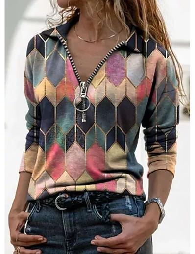 abordables Chemisiers et chemises-T shirt Femme Sports Fin de semaine Bloc de Couleur Manches Longues Quarter Zip Col de Chemise Hauts Mince Haut de base Hawaïen Bleu Violet Jaune