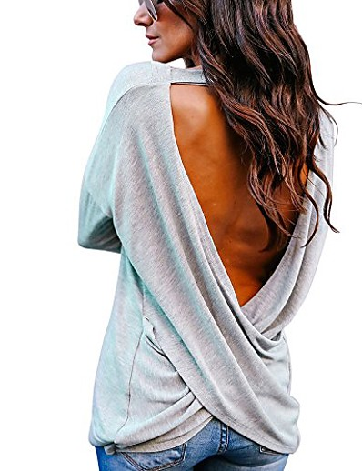 cheap Blouses & Shirts-women's sexy backless loose shirt long sleeve open back cross tee top blouse (gray, xl)