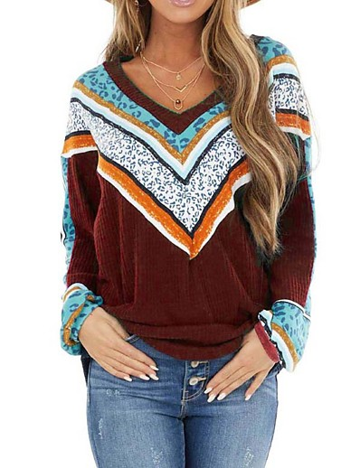 cheap NEW IN-Women's Knitted Color Block Pullover Long Sleeve Sweater Cardigans V Neck Fall Winter Black Wine Navy Blue