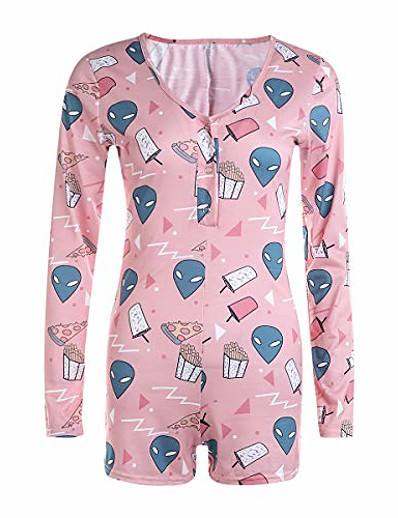 cheap JUMPSUITS & ROMPERS-women sexy bodysuit long sleeve v-neck striped bodycon sleepwear jumpsuit button short romper leotard pajamas