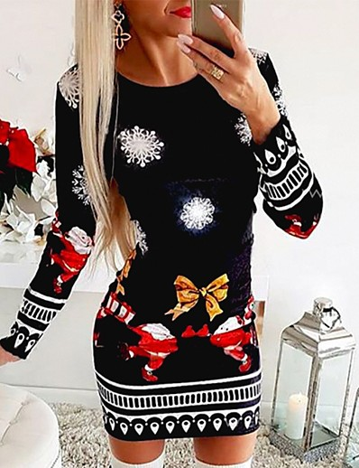 cheap CHRISTMAS-Women's Sheath Dress Short Mini Dress - Long Sleeve Print Print Spring Fall Casual 2021 Black M L XL XXL
