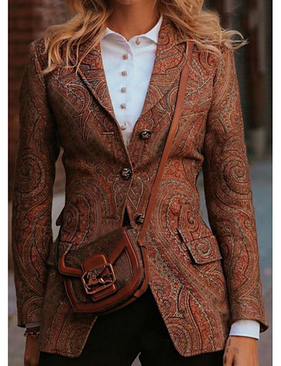 cheap OUTERWEAR-Women's Single Breasted Jacket Regular Solid Colored Going out Vintage Brown S M L XL