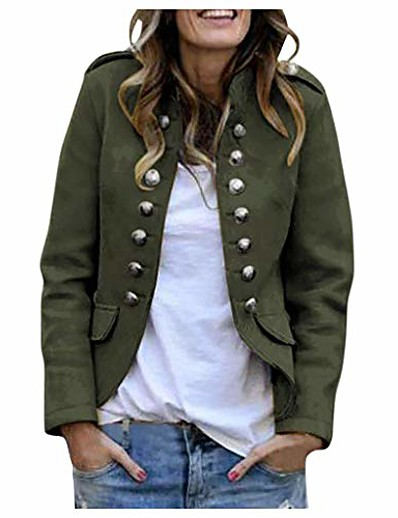 cheap Jackets-Women's Jacket Shopping Causal Chic & Modern Spring ArmyGreen / Black / Red S / M / L