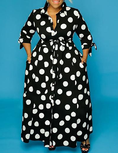 cheap Plus Size Dresses-Women's Sheath Dress Midi Dress Long Sleeve Print Fall Winter Plus Size Casual 2021 Black XL XXL 3XL 4XL 5XL