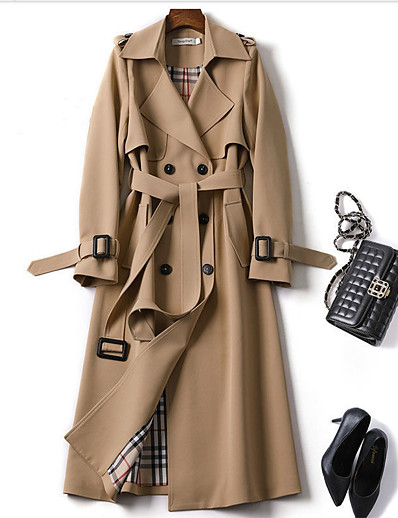 cheap Coats & Trench Coats-Women's Trench Coat Daily Spring &  Fall Long Coat Regular Fit Classic & Timeless Jacket Long Sleeve Plaid Lace up Blue Camel / Work / Patchwork