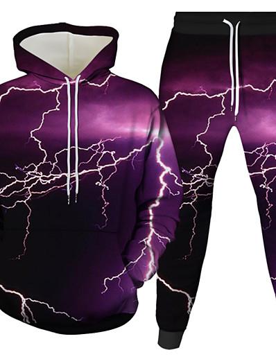 cheap Men's 3D-Men's 3D Hoodies Set Graphic 3D 2 Piece Hooded Daily 3D Print Casual Hoodies Sweatshirts  Long Sleeve Blue Purple Gray