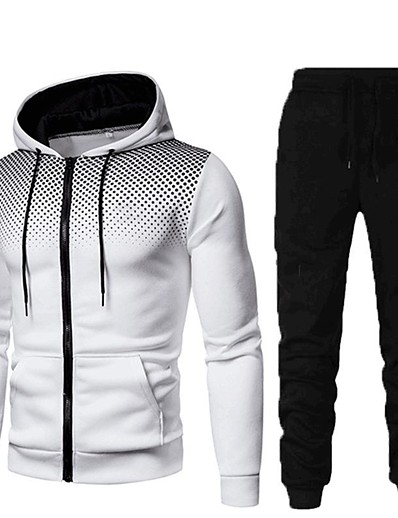 cheap Running, Jogging & Walking-Men's 2 Piece Full Zip Street Casual Tracksuit Sweatsuit 2pcs Long Sleeve Winter Thermal Warm Breathable Soft Fitness Gym Workout Running Active Training Jogging Sportswear Polka Dot Hoodie Normal
