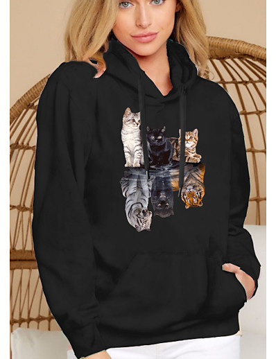 cheap Hoodies & Sweatshirts-Women's Hoodie Pullover Cat Graphic 3D Front Pocket Daily Basic Casual Hoodies Sweatshirts  Black