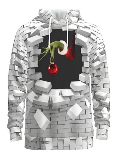 abordables NOUVELLE DANS-Homme Sweat-shirt à capuche Imprimé 3D Graphique Poche avant Capuche Noël Motifs 3D Noël Pulls Capuche Pulls molletonnés Manches Longues Blanche