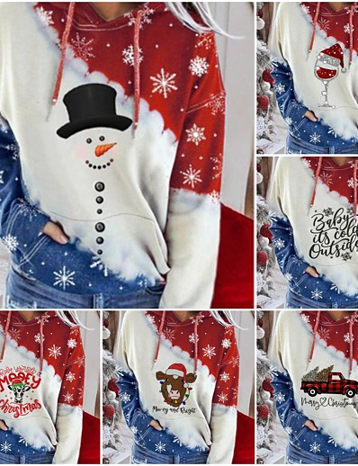 cheap Christmas Tops-Women's Plus Size Christmas Pullover Hoodie Sweatshirt Galaxy Christmas Hoodies Sweatshirts  White Black Red