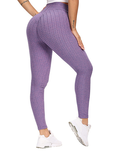 cheap SPORTSWEAR-Women's High Waist Yoga Pants Ruched Butt Lifting Tights Leggings Tummy Control Butt Lift Breathable Solid Color Purple Light Purple Blue Spandex Yoga Fitness Gym Workout Winter Sports Activewear