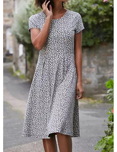 cheap Knee-Length Dresses-Women's Swing Dress Knee Length Dress - Short Sleeve Polka Dot Patchwork Print Spring Fall Work Casual Going out 2020 Black S M L XL XXL
