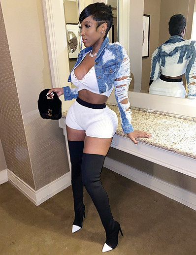 cheap NEW IN-Women's Single Breasted Denim Jacket Short Solid Colored Going out Black Blue Navy Blue S M L XL