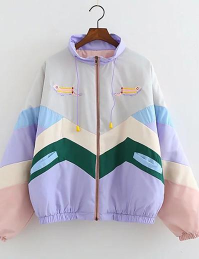 cheap OUTERWEAR-Women's Zipper Jacket Regular Print Going out Active Blushing Pink S M L XL