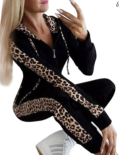 cheap Sports Athleisure-Women's 2 Piece Set Leopard Print Hoodie Sport Athleisure Hoodie Pants Clothing Suit Long Sleeve Comfortable Everyday Use Casual / Winter / 2pcs / pack